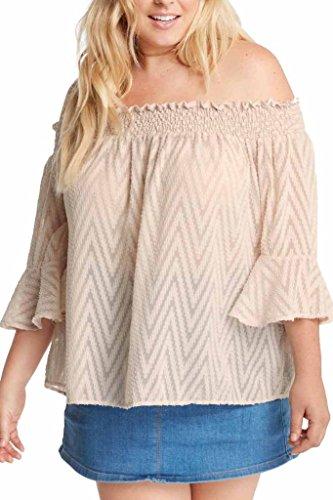 Poshsquare Women's Mesh Ruffle Off The Shoulder Chevron Printed Plus Size Blouse Top USA Cream 3XL