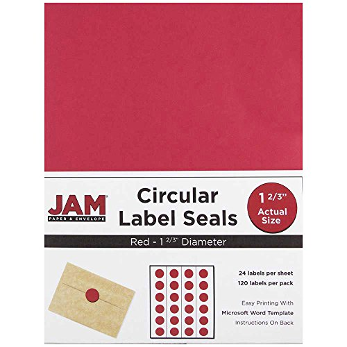 JAM Paper Round Circle Label Sticker Seals - 1 2/3