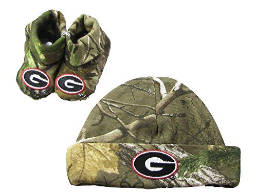 Georgia Bulldogs Camo Camouflage Infant Newborn Hat Bootie Baby Gift Set UGA