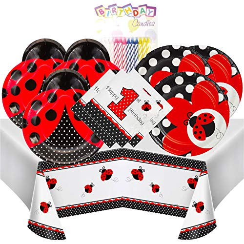 Ladybug Fancy 1st Birthday Themed Party Pack - Includes 24 9
