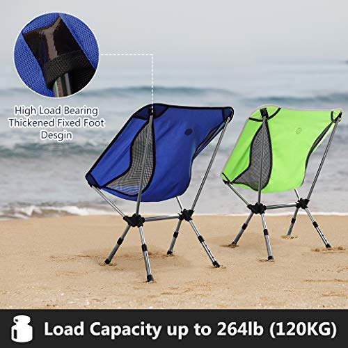 Awenia Portable Camping Chair Adjustable Height, Lightweight Folding Backpacking Chair Heavy Duty 264lbs Capacity with Carry Bag for Outdoor Camp, Travel, Beach, Picnic, Festival, Hiking, Blue Green