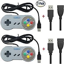 Exlene® 2 Pack Retro USB SNES Super Nintendo Game Controller Gamepad Joystick with 2PCS USB extension cable for Windows PC/MAC