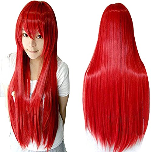 Foxfire Ahri Costumes - Anogol Hair Cap+Vocaloid 80cm Long Straight Lolita Red Cosplay Wig Hair