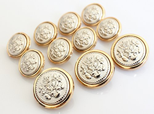 YCEE 11 Pieces Polished GOLD with Inlaid SILVER Metal ~LION & STALLION ROYAL CREST Shank Style Sport Coat BLAZER BUTTON SET (Gold Buttons Metal)