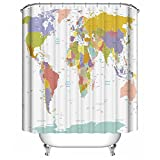 Dimaka Shower Curtain Bathroom Decoration Design Decor Mildew Resistant Repellent Water Resistant Fabric Shower Curtain [Educational Geography], Home Textile (71'' W x 71'' L, World Map with Cities)