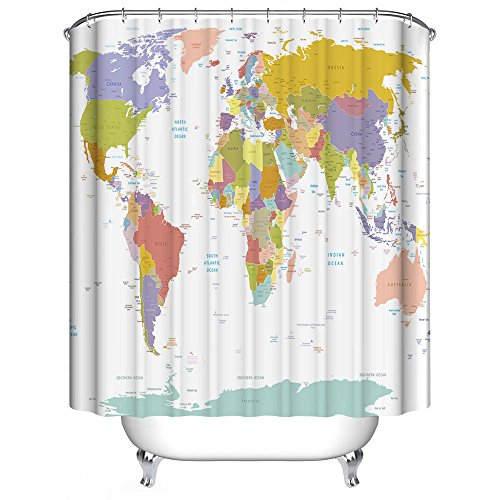 Dimaka Shower Curtain for Girls and Kids, Bathroom Decoration Design Decor,Waterproof Resistant Fabric Shower Curtain for Bathroom [Educational Geography] (71