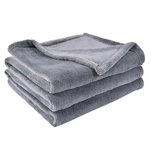 "BEST DREAMCITY Soft Brush Fabric Polar Fleece Blanket (Grey, 60""X 80"", 1-Piece)"