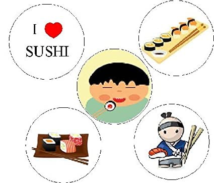 5d02d6eb9 Image Unavailable. Image not available for. Color: Set of 5 I Love SUSHI ...