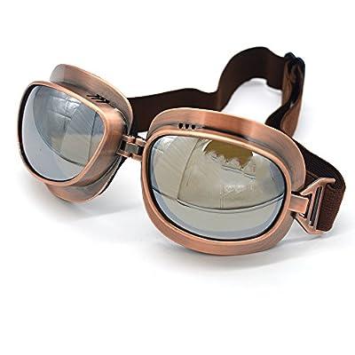 Evomosa Motorcycle Goggles Vintage Pilot Goggles Retro Motocross Goggle Outdoor Eyewear Sports Glasses for Half Helmet: Automotive