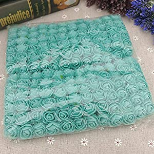 Xinyi 144pcs Artificial Flowers Mini Foam Roses with Stem for Wedding Bouquet Decor (Tiffany Blue) 99