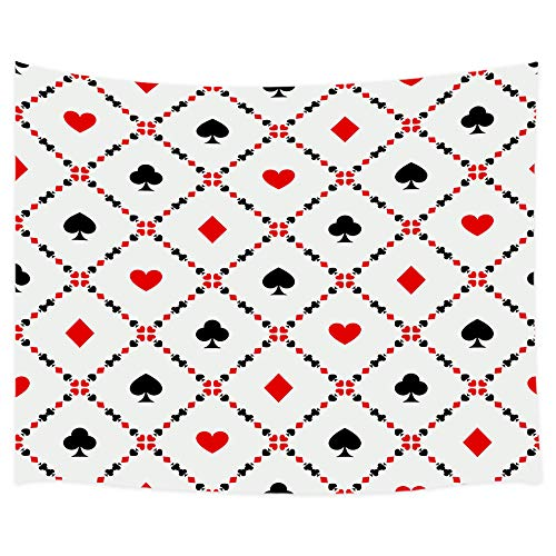 Morden Home Tapestry Wall Hanging, Poker Cards Wallpaper with Herat and Square Block Casino Decorations Tapestry, Wall Blanket Home Decor for Bedroom Living Room Dorm, 60X40 in Red White Balck ()
