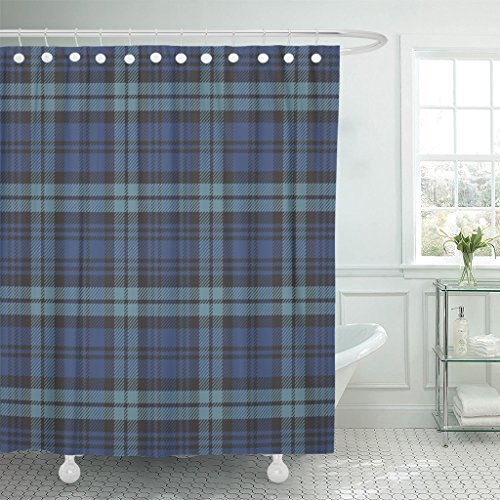 VaryHome Shower Curtain Black Watch Plaid Blue Tartan Preppy Waterproof Polyester Fabric 72 x 72 inches Set with ()