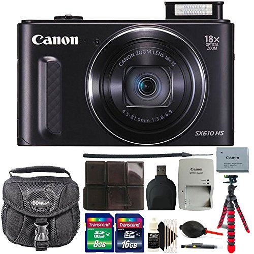 Canon PowerShot SX610 HS 20.2MP Wifi / NFC Enabled 18X Optical Zoom Point and Shoot Digital Camera with 24GB Bundle