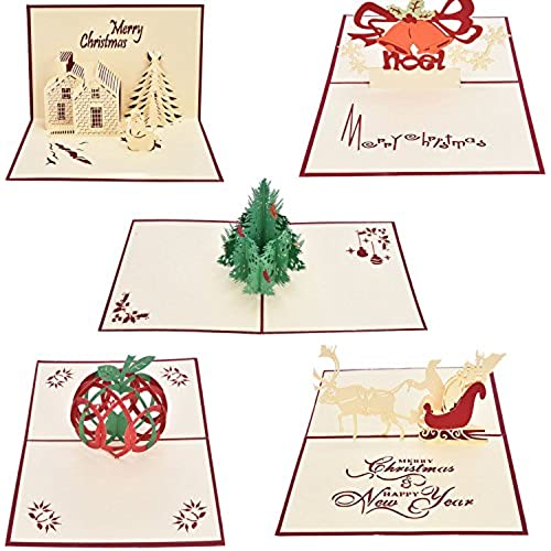 Buytra 5 Pack Christmas Cards Set 3D Pop-up Greeting Card for Xmas,Festival,Birthday,Thank you,Anniversary and Sales