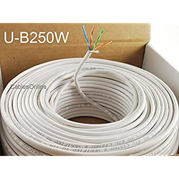 CablesOnline 250ft CAT5e 100% Pure Copper RJ45 350Mhz UTP Solid Ethernet Cable Spool, White