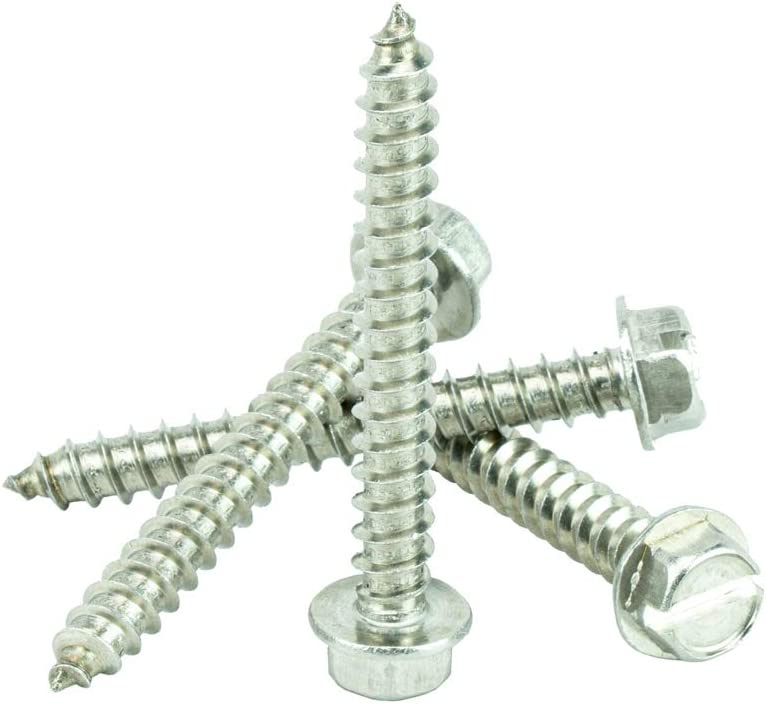 Qty 100 by Bridge Fasteners #14 x 2 Hex Washer Head Sheet Metal Screws Self Tapping 18.8 Stainless Steel Full Thread