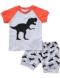 Baby Dinosaur Clothes, Summer 2Pcs Kids Baby Boys Pajamas Cartoon Print Tops Shorts Outfits Set