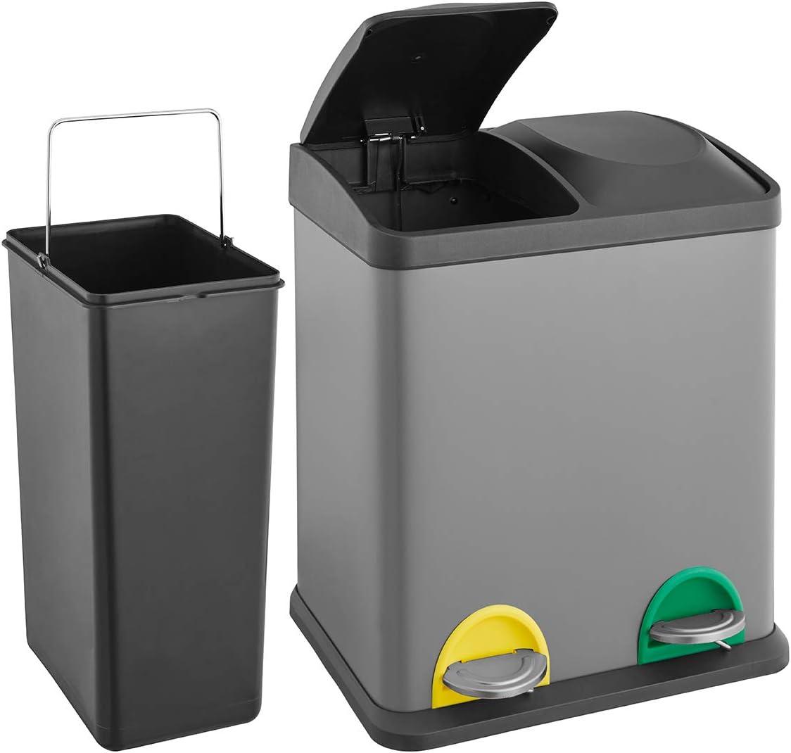 SVITA TC2000X2000 Küchen-Eimer grau 2000 Liter 2000x2000L doppelt Abfalleimer  2000er-Mülleimer Mülltrennung Treteimer