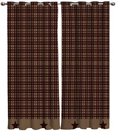 YEHO Art Gallery Window Treatment Set Room Curtains for Living Room,Bedroom,Kitchen,Laundry,Rustic Check Plaid Star Brown 2 Drape Panels,104 W by 84 L