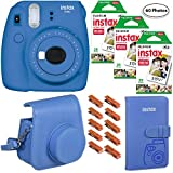 Fujifilm Instax Mini 9 (Cobalt Blue), 3X Instax Film (60 Sheets), Groovy Case, Album and Hanging Pegs