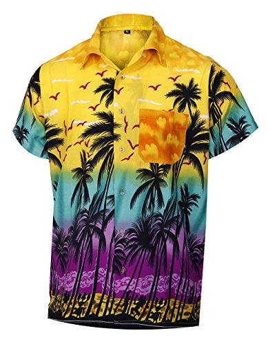Virgin Crafts Men's Hawaiian Short Sleeves Shirt Coconut Tree Print Aloha Party Holiday Shirts, Yellowm, L | Chest: 46