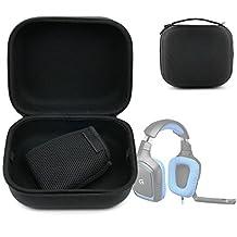 Etui coque noir pour Logitech G430, G230 et G35 Micro-Casque Gaming - taille XL + anse de transport