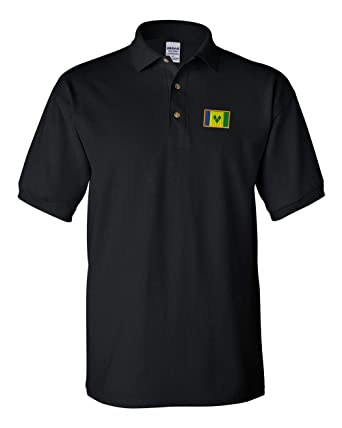090db126e1b09 Amazon.com: Polo Shirt St Vincent Embroidery Country Name Cotton Golf Shirt  for Men - Black, Medium Design Only: Clothing