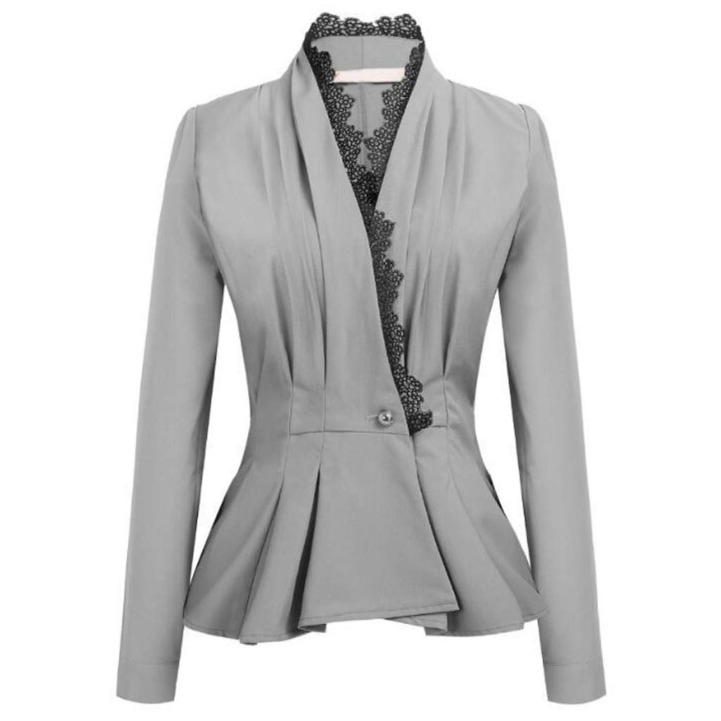 ✔ Hypothesis_X ☎ Women's Long Sleeve Stretchy Ruched Work Office Blazer Jacket Lace Patchwork Blazer Elegant Suit Coat Gray by ✔ Hypothesis_X ☎ Top
