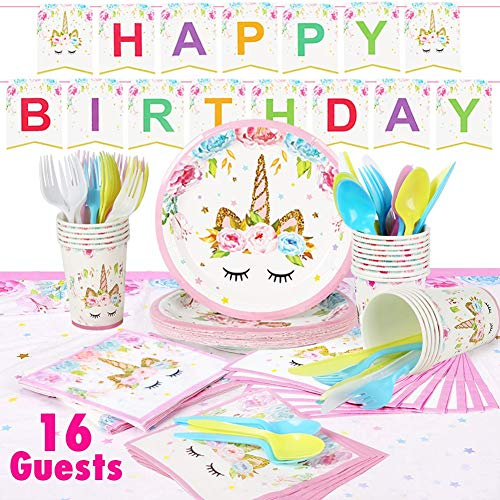 MIEO Unicorn Party Supplies Set & Tableware Kit, Unicorn Gifts for Girls, Birthday Decorations Banner, Disposable Paper Plates, Cups, Napkins, Table Cloth - Serves -16 (pink)