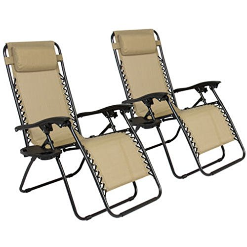 2 Folding Zero Gravity Reclining Lounge Chairs+Utility Tray Outdoor Beach Patio - York Lounge Chair