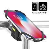 Bike Stem Mount Phone Holder, Universal Bicycle Handlebar Cell Phone Cradle Clamp for iPhone X 8 7 Plus Samsung Galaxy S9 S8 Note 8, 4 to 6.5 Inch Smartphone, Bike TIE PRO 2 (2nd Generation) - Black
