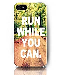 UKASE Cases with Inspiring Picture Life Quotes for iPhone 5/5S - Green Trees Road - Run While You Can
