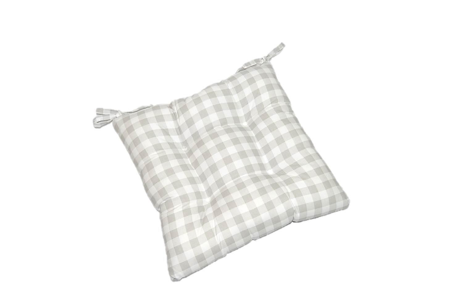 Indoor Cotton Gray / Grey and White Plaid Country Checkerboard / Checkered Universal Tufted Seat Cushion with Ties for Dining / Kitchen Chair - Choose Size (17''w x 15''d)