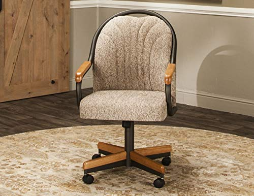 Caster Chair Company Bently Swivel Tilt Caster Arm Chair in Wheat Tweed Fabric (Kitchen On Chairs Rollers)