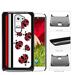 Cute Ladybugs Pattern With Red & Black Stripes [LG G2] Hard Snap on Plastic Cell Phone Cover