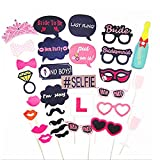 L-FADUNT 30 Pcs Party Photo Booth Props Dress up Props for Wedding Birthday Party Bachelorette Party Shooting Props Girls Night Out Accessories with Mustache Lipsticks Glasses Red Lips Crown Hat