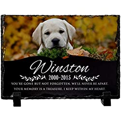 "Personalized Dog Memorial Stone w/ Photo - Granite Dog Grave Marker | 6""x8""