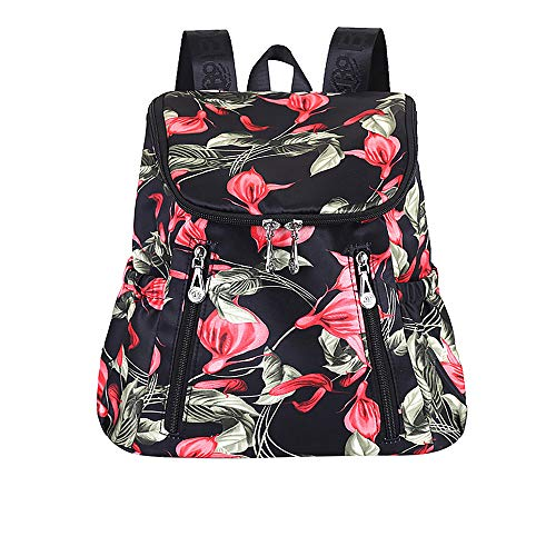 Yiwanjia ^O^ Backpack Purse for Women Floral Print Daypack Anti-theft Rucksack Lightweight Water-resistant Travel Daypack Large Capacity College Schoolbag Casual Durable Bookbags (B^O^)