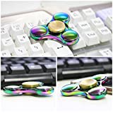 NIUB5 Tri Fidget Spinner Toy Premium Quality Stress Reducer Hand Spinner Anxiety Relieves Boredom Metal Cube Bearing Rainbow Color (Rainbow Metal)