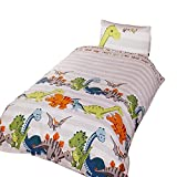 Dinosaur Childrens/Boys Duvet Cover Bedding Set (Twin) (Natural)