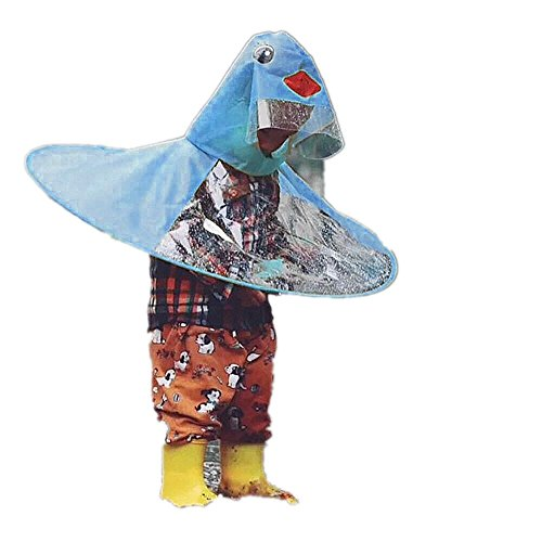 UFO Waterproof Hands Free Umbrella Rain Hat Headwear Cap Raincoat Outdoor Fishing Golf Child Adult Student Rain Coat Cover (Blue -1, - Soft Advantage Jacket