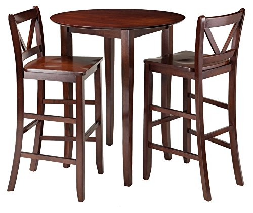 3 Piece Counter Height Dining Set, Includes: Counter Height Table and Two Coordinating Stools Made w/ Solid Wood in Walnut (Table : 33.66L x 33.66W x 38.98H in.)(Chair: 16.93W x 19.21D x 42.17H in.)