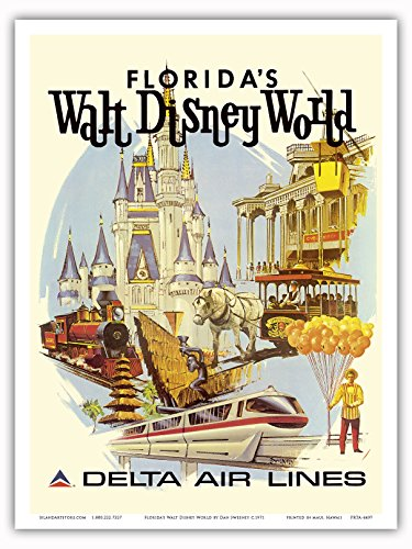 Florida's Walt Disney World - First Year of Operation - Delta Air Lines - Vintage Airline Travel Poster by Daniel C. Sweeney c.1971 - Master Art Print - 9in x 12in (1971 Poster Print)
