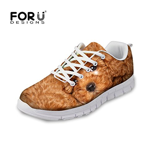For U Design Mote Katt Utskrifts Menns Og Kvinners Pustende Mesh Joggesko Sneaker Puddel A2