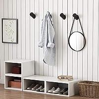 Perchero de pared de madera de roble maciza, color natural, moderno, estilo escandinavo, juego de cuatro unidades , madera, negro, 5.5X3