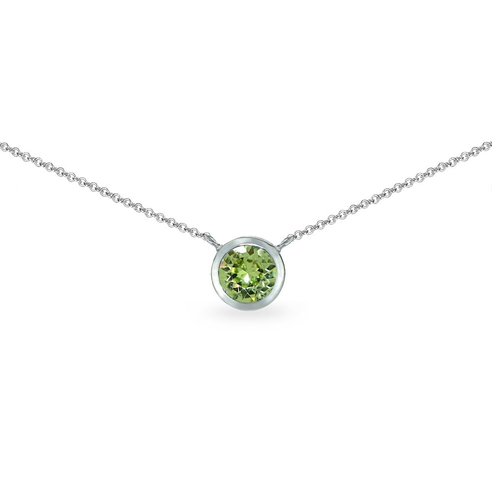 Sterling Silver Light Green 6mm Round Bezel-Set Dainty Choker Necklace Made with Swarovski Crystals