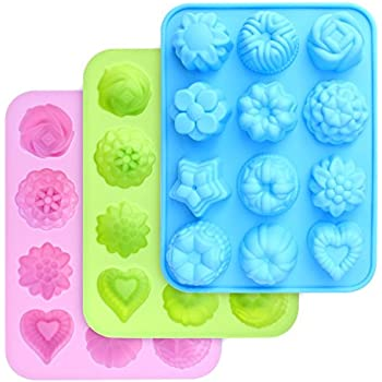 homEdge Food Grade Silicone Flowers Molds, Baking Pan with Flowers and Heart Shape Non-Stick FDA Approved 3-Pack Silicone Molds for Chocolate, Candy, Jelly, Ice Cube, Muffin (Pink, Blue and Green)