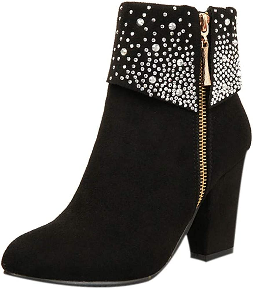Womens Sexy Crystal Ankle Boots Thick