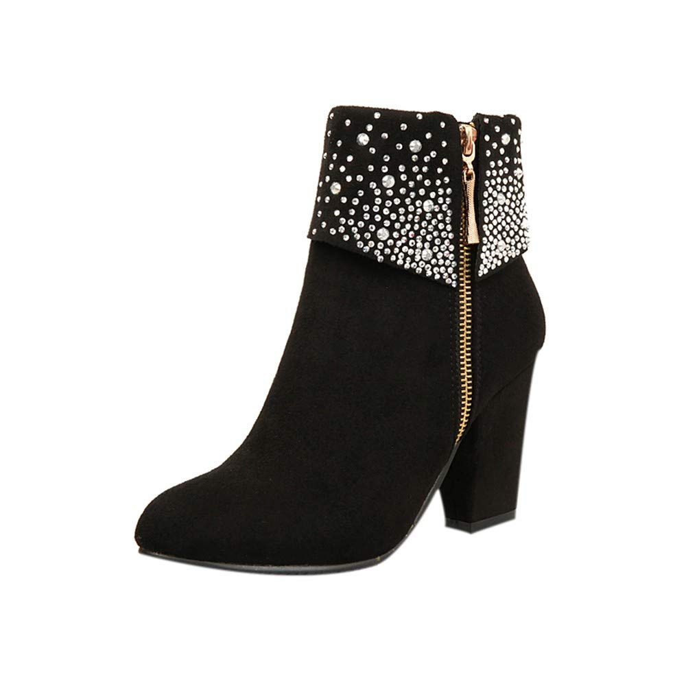 Womens Sexy Crystal Ankle Boots Thick Square Heels Side Zipper Party Booties Warm Round Toe Shoes Size 5-9.5 (Black, US:5.5)