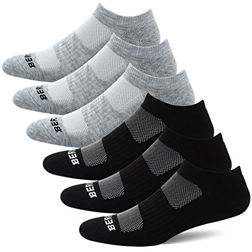 BERING Women's Athletic Low Ankle Cushion Socks, Black/Grey, Size 8-12, 6 Pairs